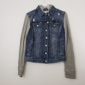 Express Jeans Denim Distressed Hoodie Jacket
